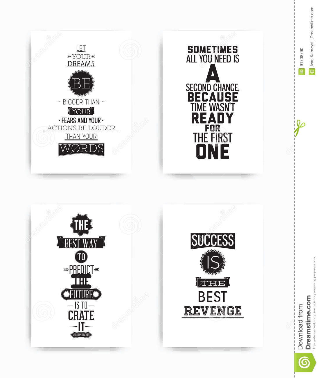 Set Posters Quote Stock Vector Illustration Of Font 91708790