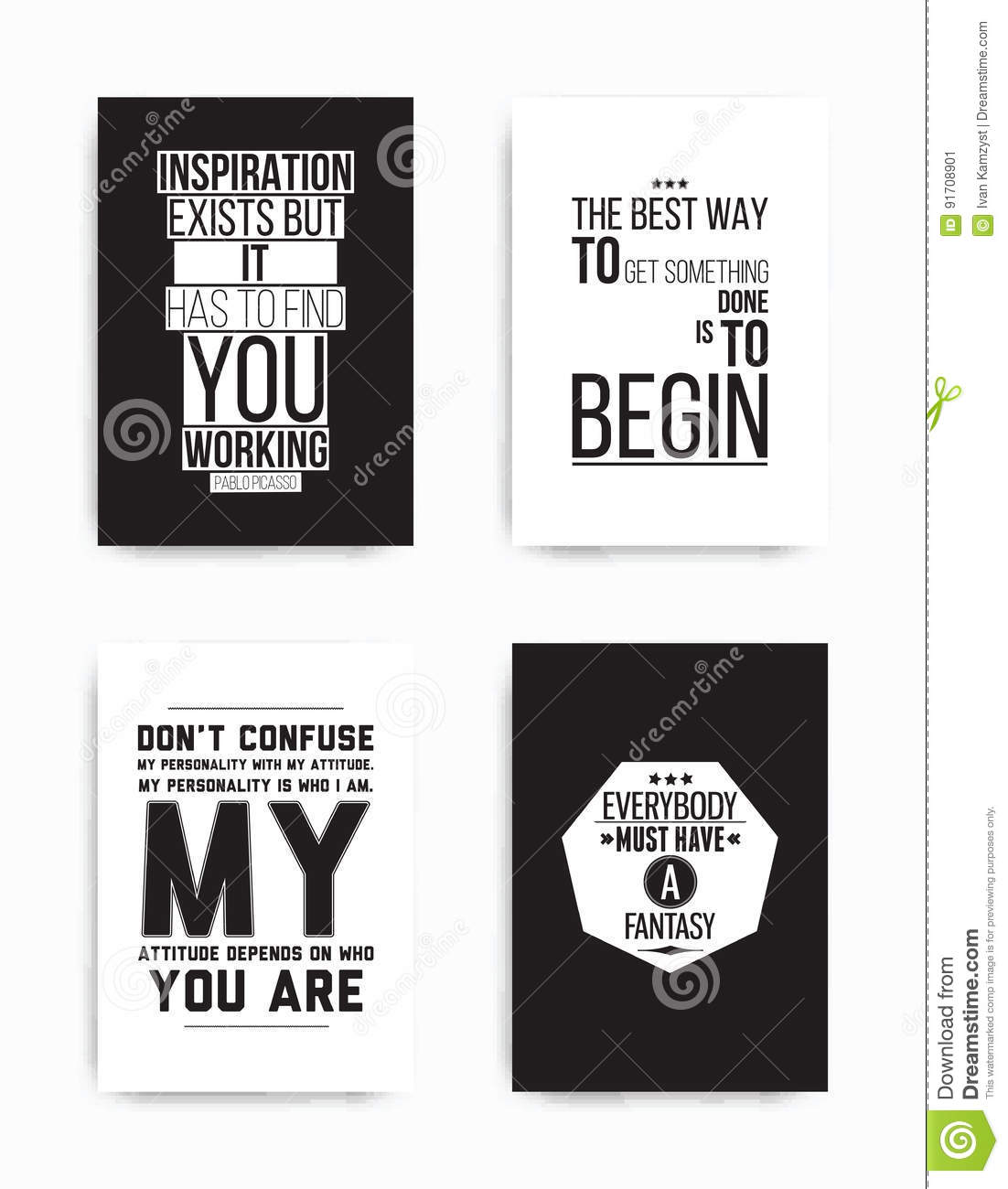 Set Posters Quote Stock Vector Illustration Of Card 91708901