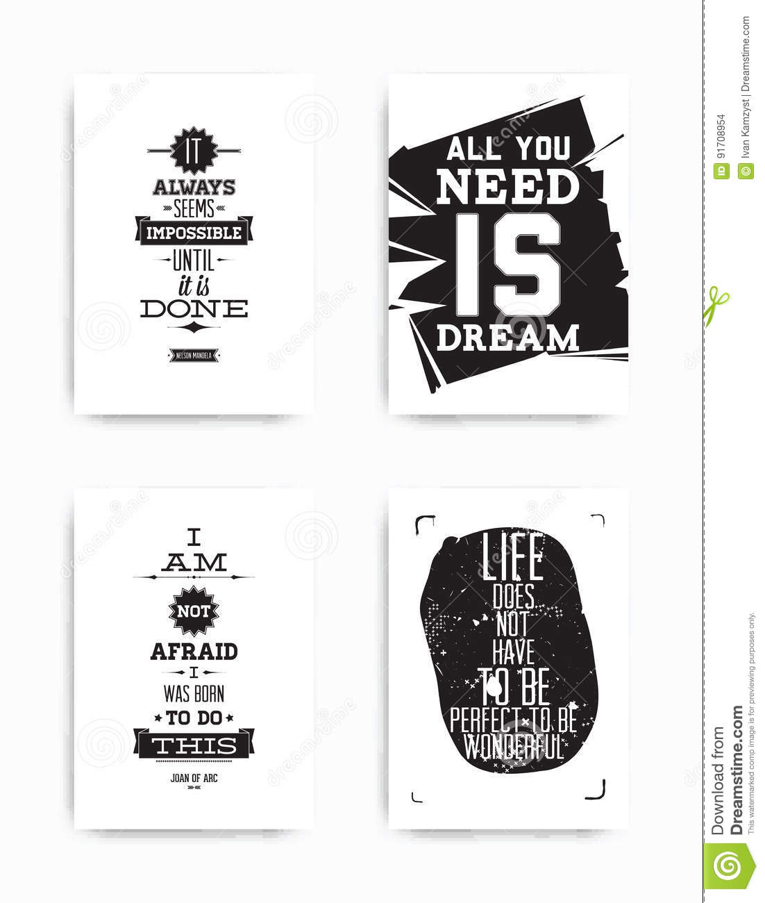 Set Posters Quote Stock Vector Illustration Of Hipster 91708954