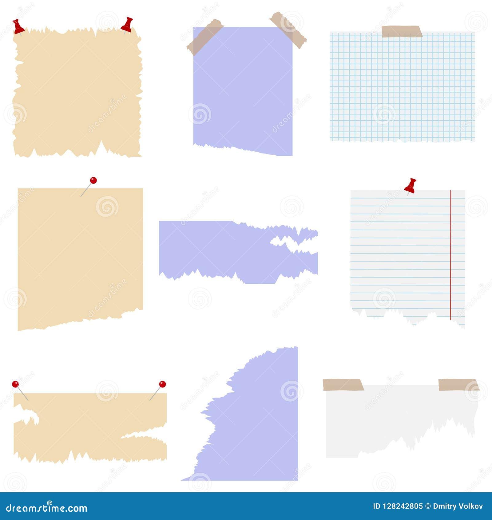Set poszarpany papier z różnymi thumbtacks elementy scrapbooking rocznika