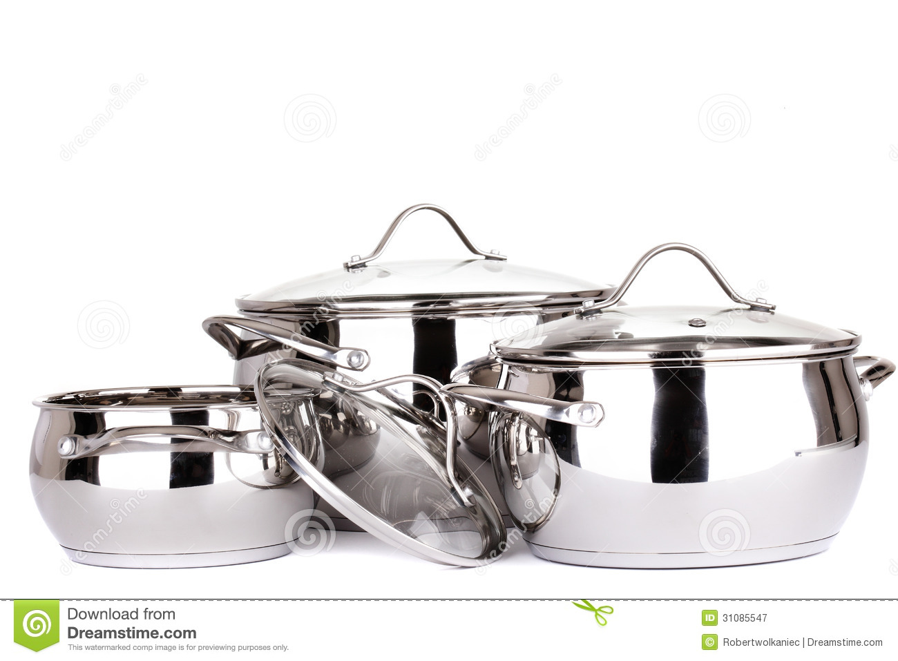 set of pots and pans royalty free stock photography image 31085547. Black Bedroom Furniture Sets. Home Design Ideas