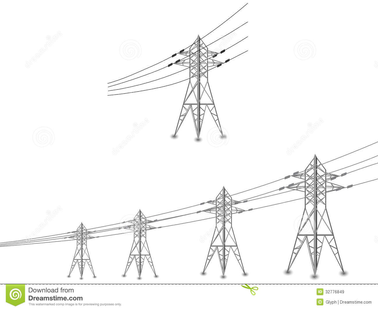 Electricity Power Plant Clip Art Set of power lines and