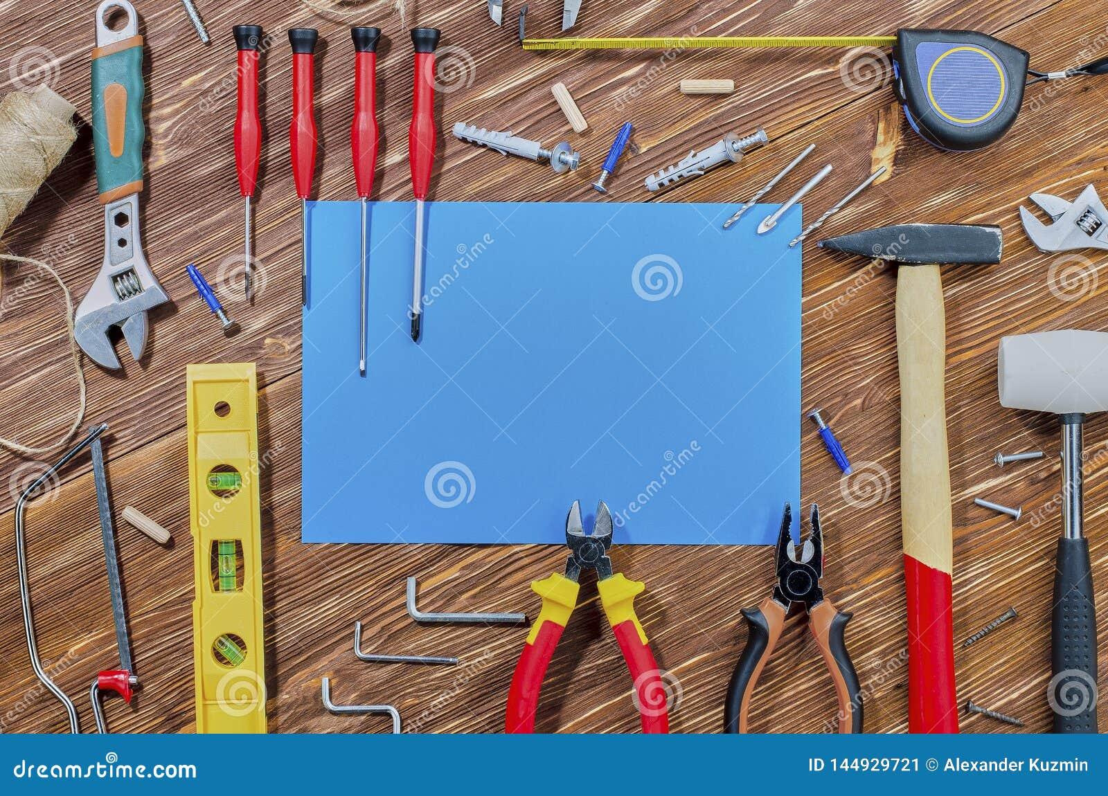 Set pracujący narzędzia dla robić gospodarstwo domowe obowiązek domowy