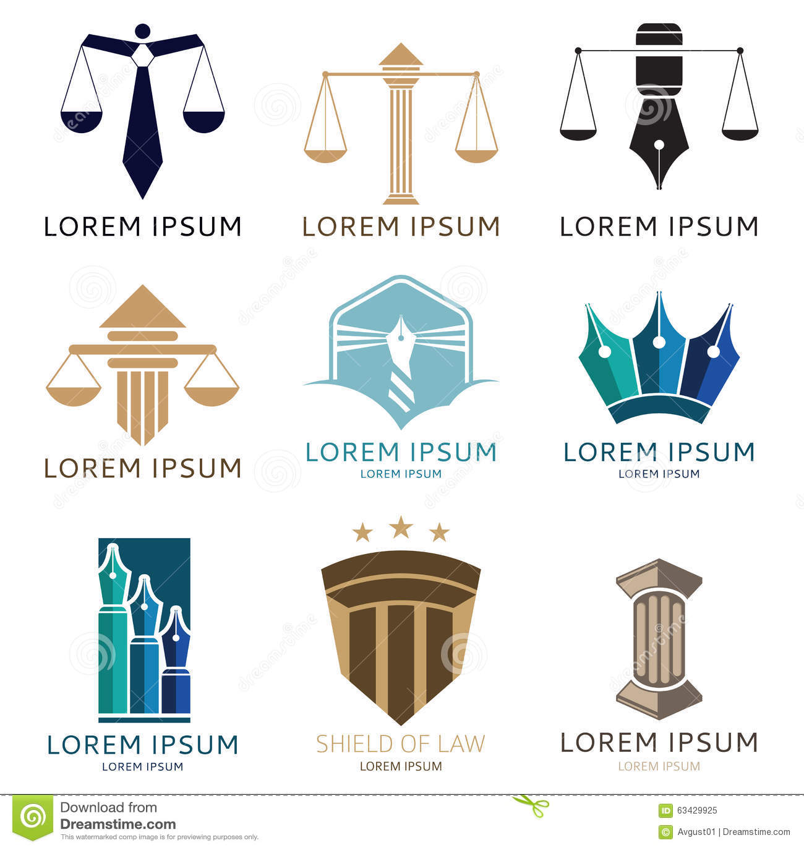 Set prawnika logo i prawnika biura logo