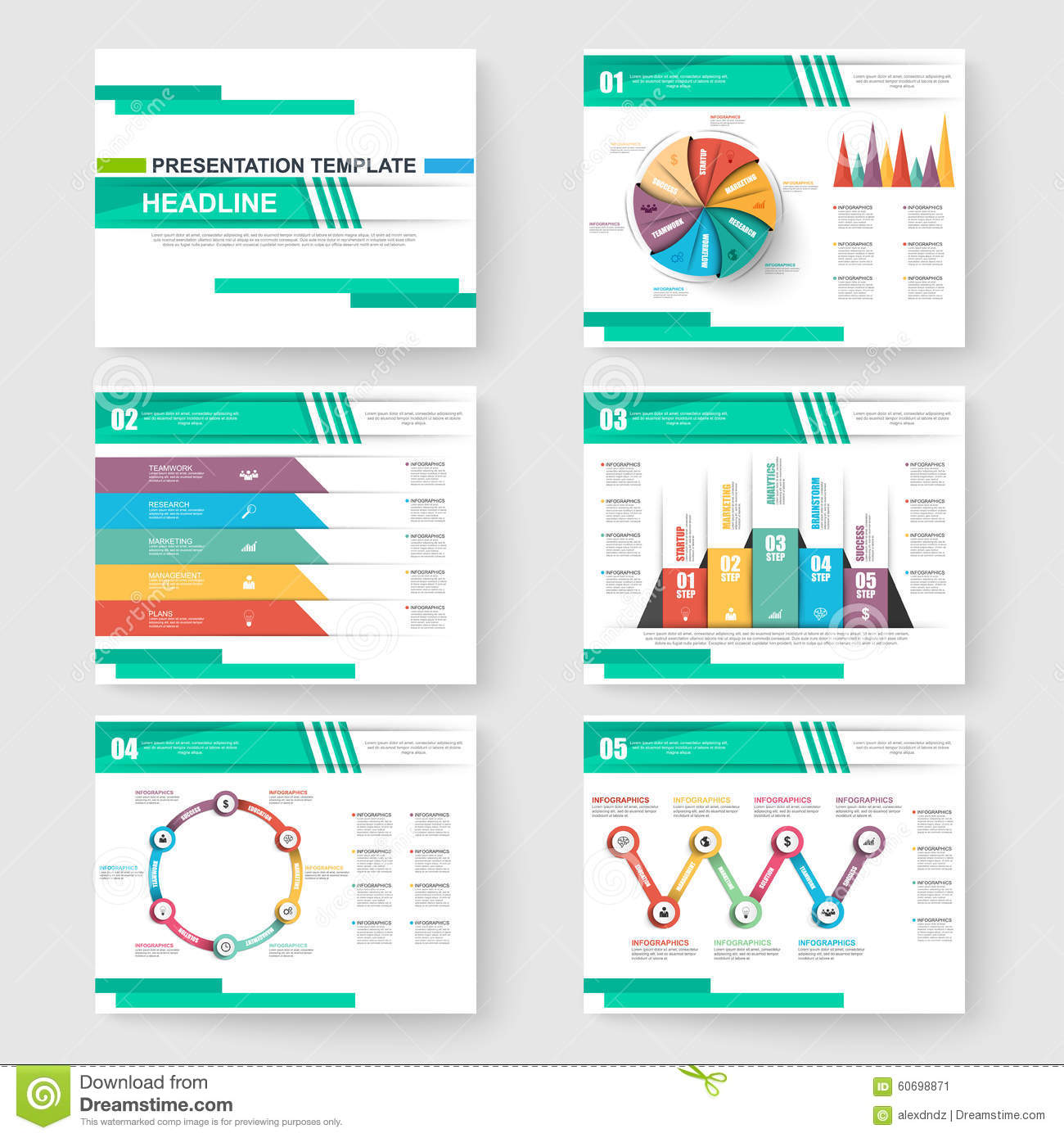 set of presentation slide templates powerpoint stock vector