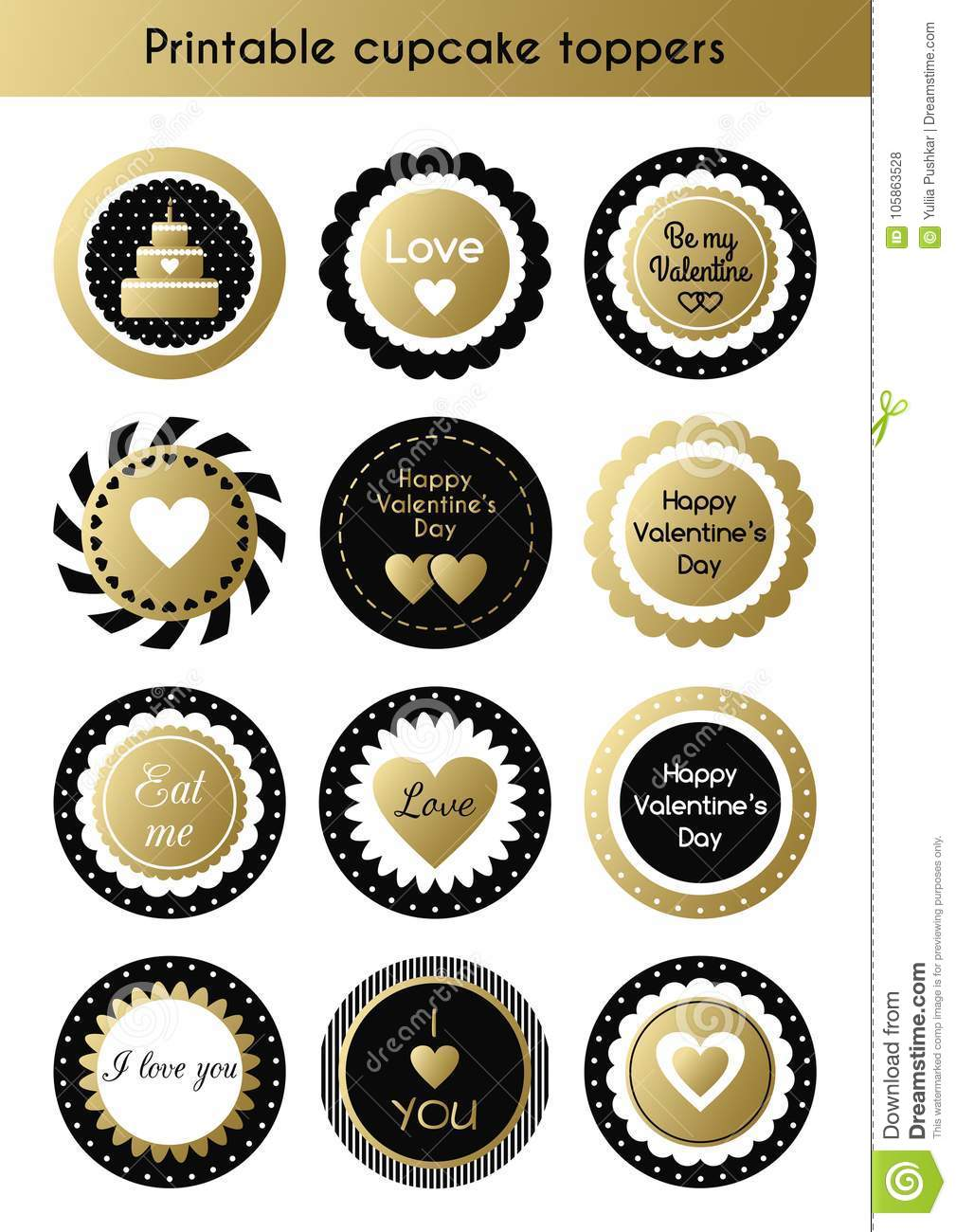 photograph regarding Gold Printable Labels named Preset Of Printable Gold And Black Cupcake Toppers, Tags For