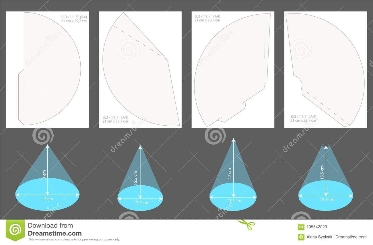 Set Of Printable Party Hats Vector Cones Template To Head For A Holiday Stock Vector Illustration Of Kids Happy 105542823