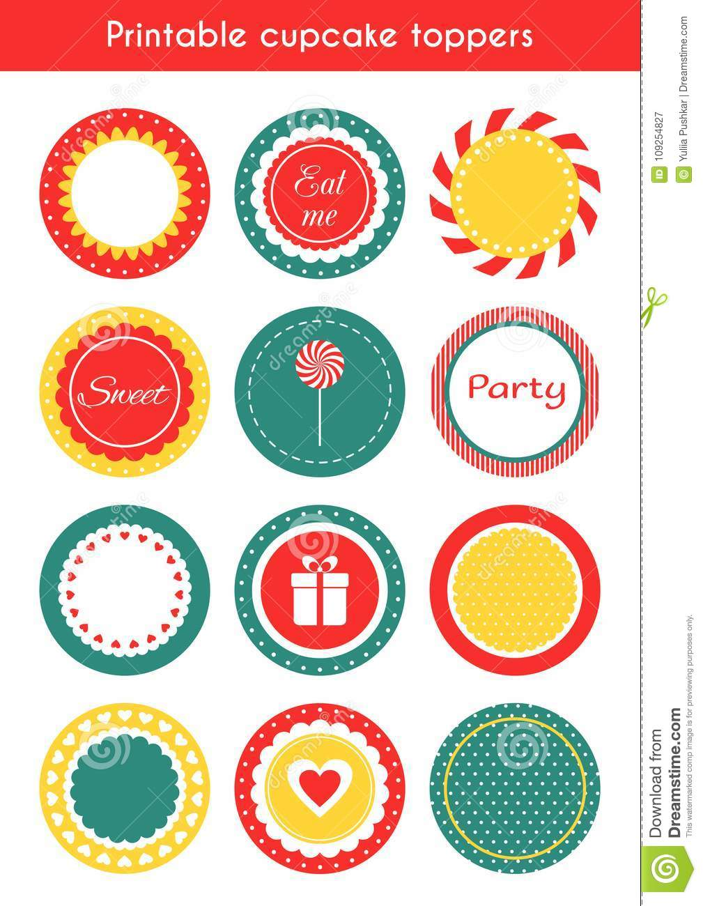 Set Of Printable Tags Cupcake Toppers Labels