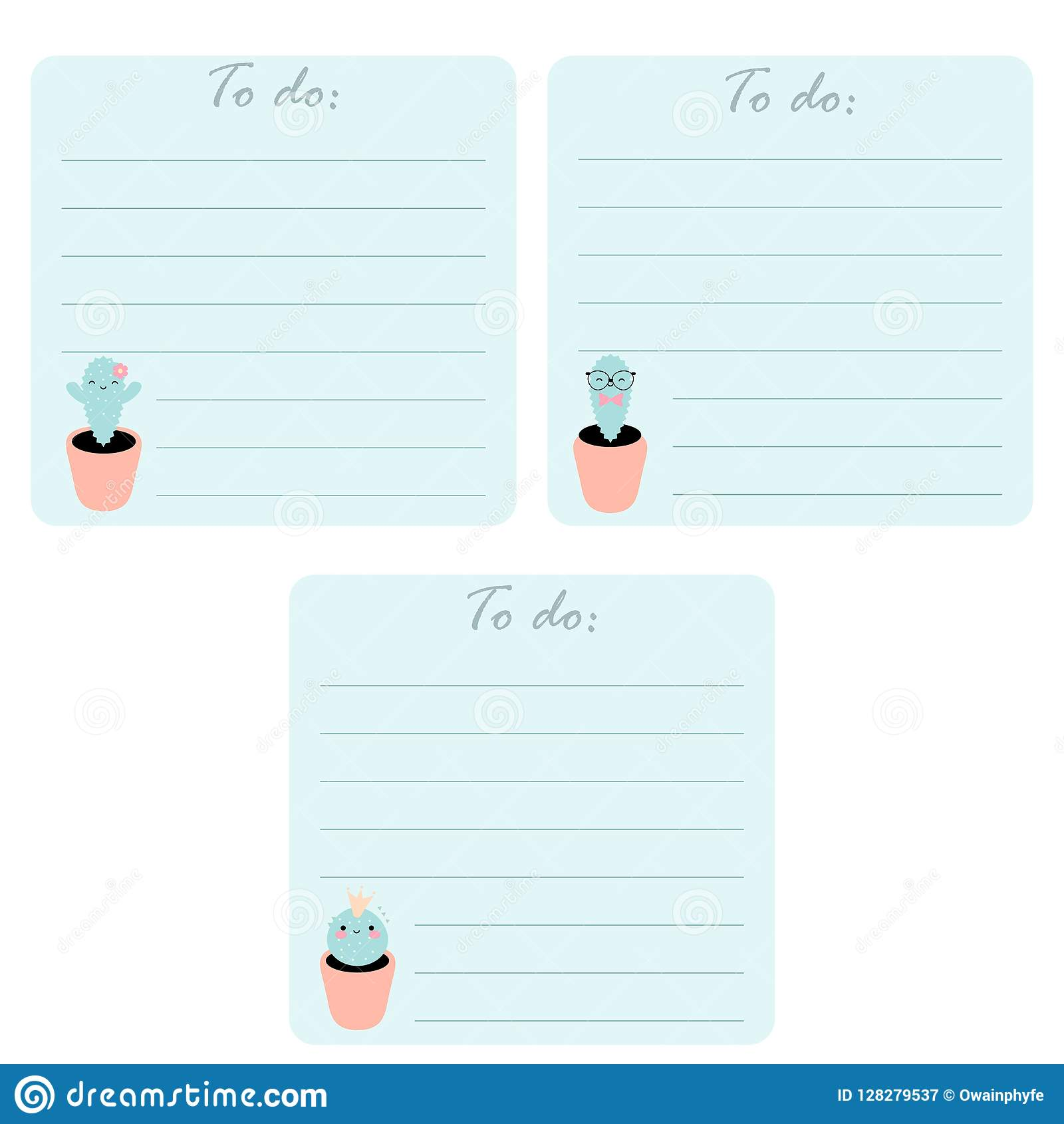 photo regarding Cute Printable to Do List identified as Fixed Of 3 Printable Toward Do Lists With Lovely Kawaii Cacti. Inventory