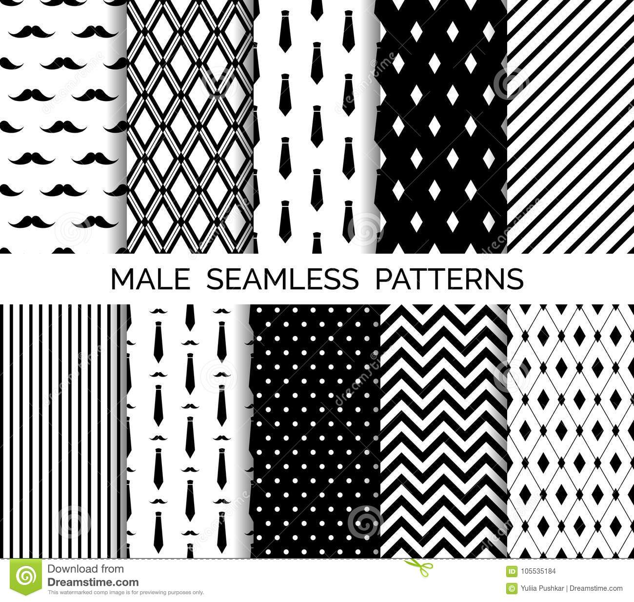 photograph about Printable Patterns titled Established Of Printable Vector Guy Seamless Designs. Black And