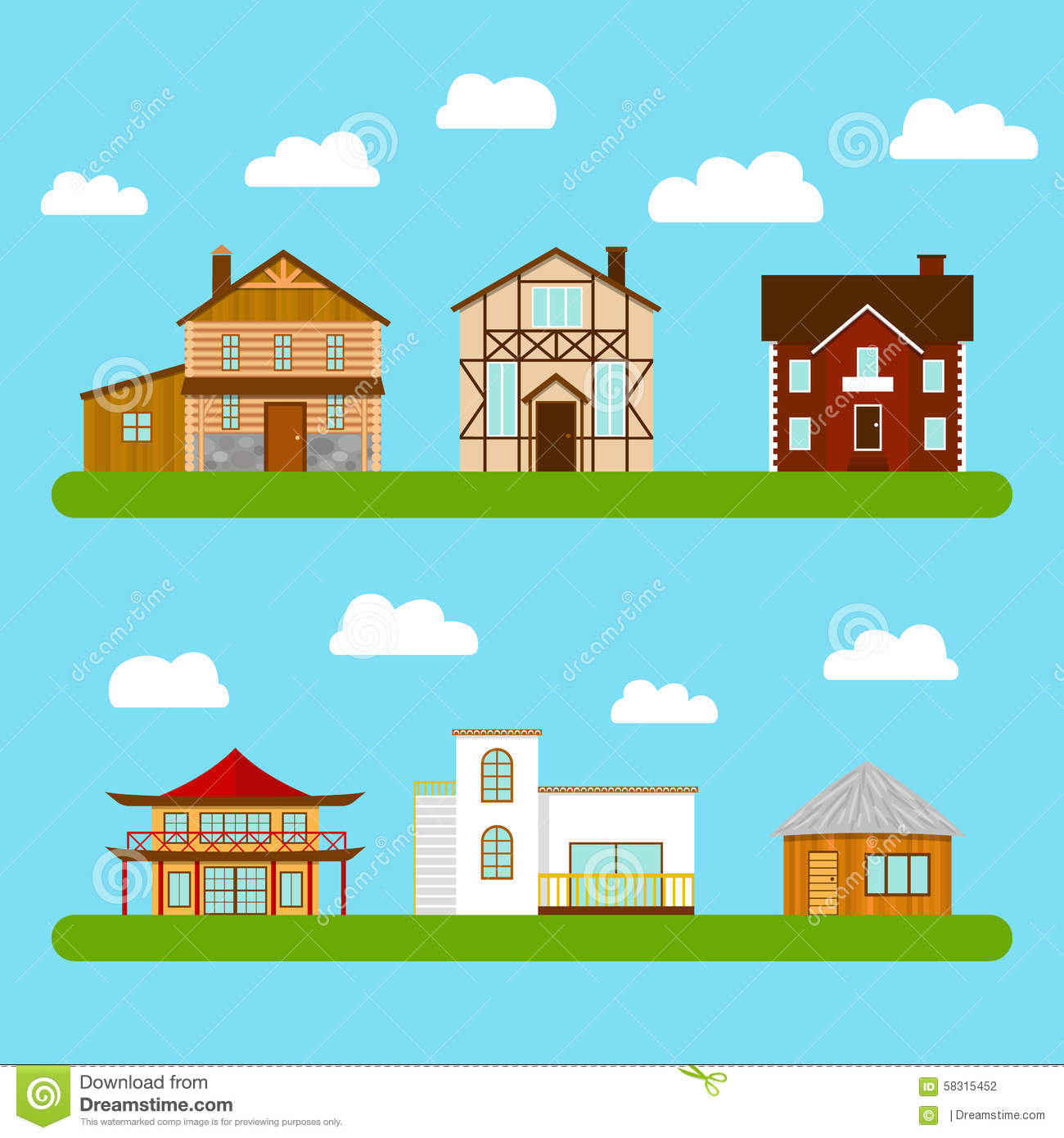 Set of private houses vector illustration cartoondealer for Different architectural house styles