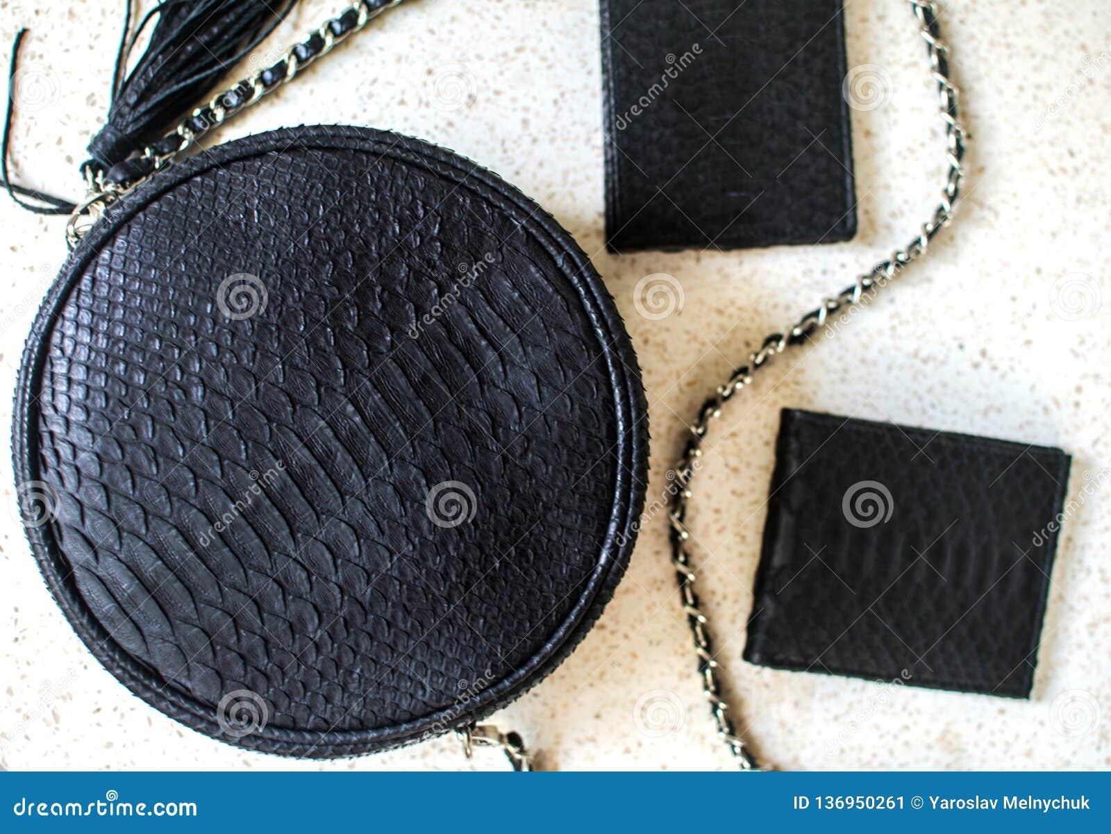Set produkty które zrobili pyton skóra Czarna luksusowa torba i purset, portfel Kiesa dla mężczyzny, portfel dla kobiety Moda