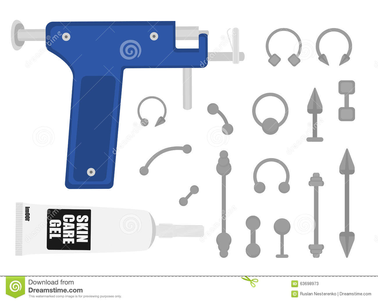 Set of professional body piercing instruments