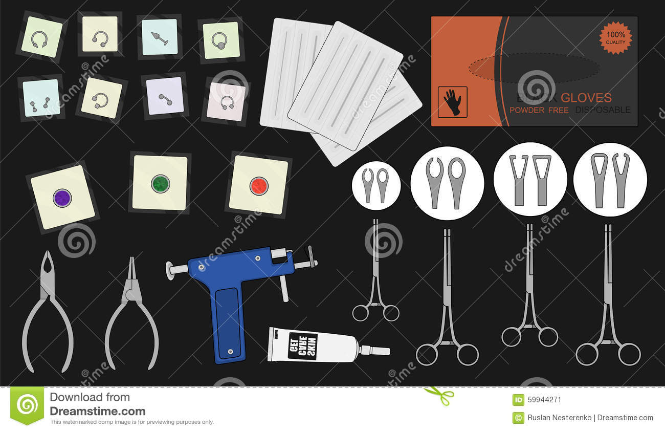 Set of professional piercing equipment color stock vector for Piercing salon