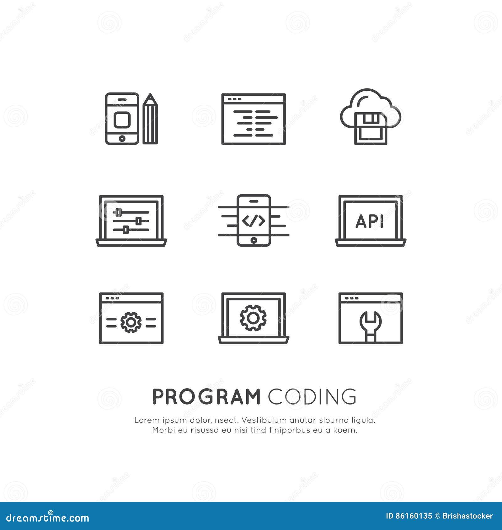Set of Program Coding App for Mobile and Web, SEO, Optimization, IT Development Process