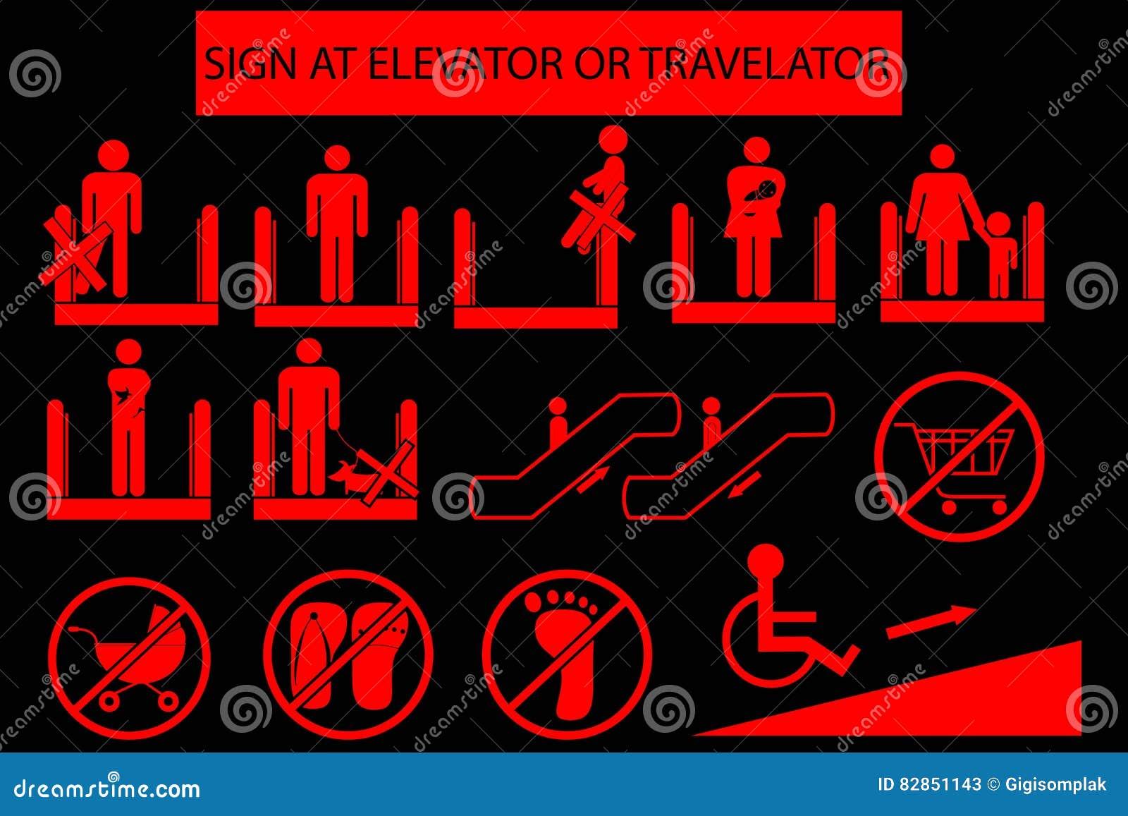 Set of Prohibited Sign at Escalator or Travelator
