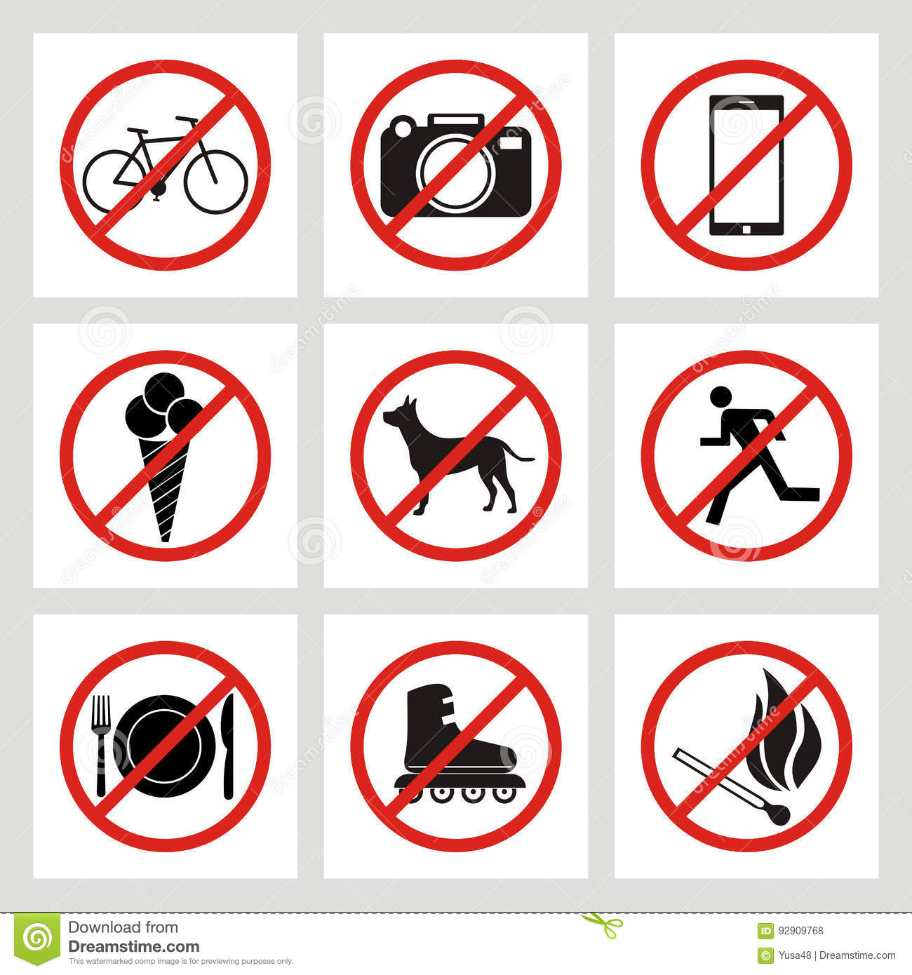 Set of prohibition signs at the entrance to the store or shop. N