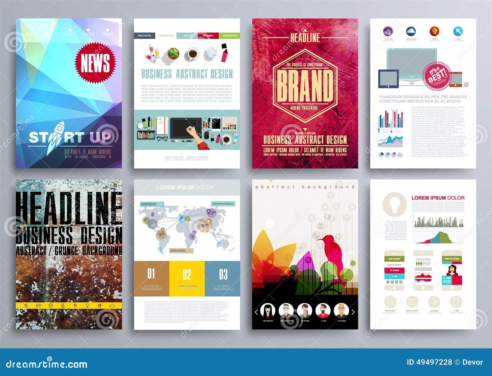 Set projektów szablony dla broszurek, ulotki, Mobilny Technologi