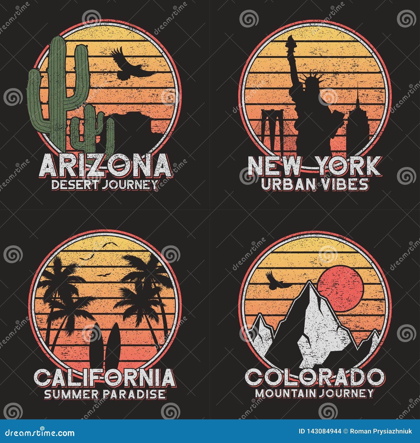 Set projekt dla amerykańskiej slogan koszulki Arizona, Nowy Jork, Kolorado i Kalifornia typografii grafika dla grunge trójnika ko