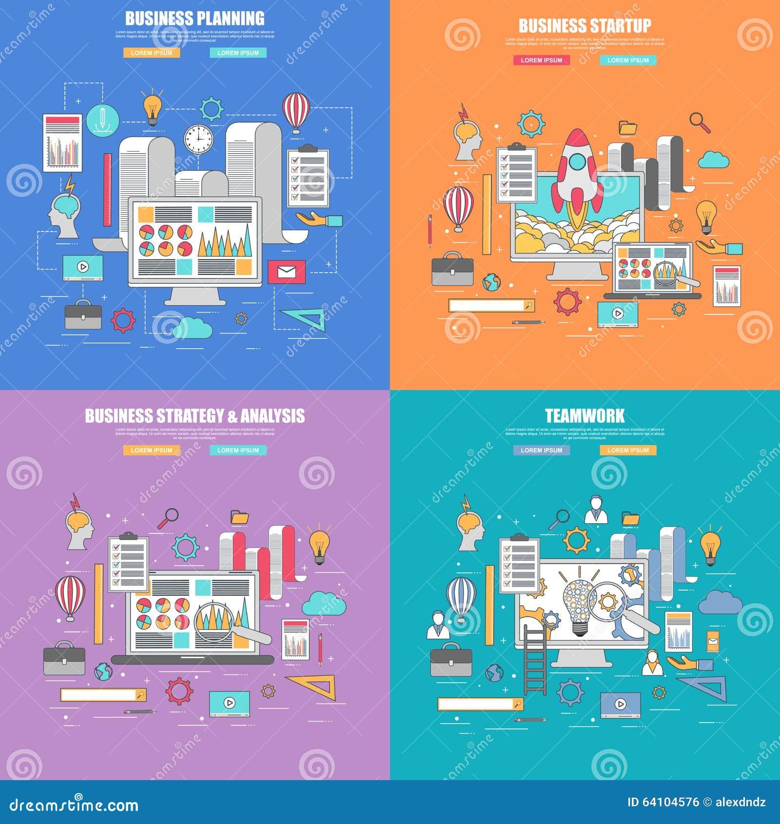 Set 4 projekta cienki kreskowy płaski pojęcie dla biznesowego planowania, strategii i analizy,