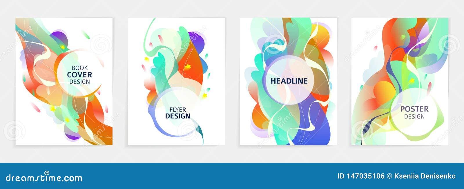 Set projekty dla ulotki, broshure, ksi??ki pokrywa, plakat, sie?, sprawozdanie roczne