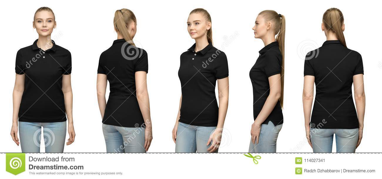 88ff2d54 Set promo pose girl in blank black polo shirt mockup design for print and concept  template young woman in T-shirt front and half turn side back view ...
