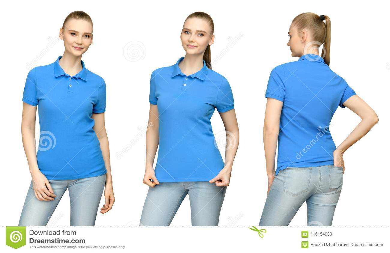 6cf96186 Girl in blank blue polo shirt mockup design for print and concept template  young woman in