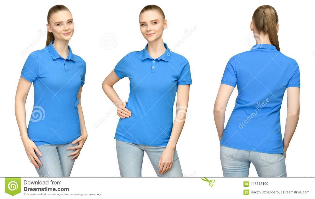 Girl in blank blue polo shirt mockup design for print and concept template young woman in T-shirt front and side back view
