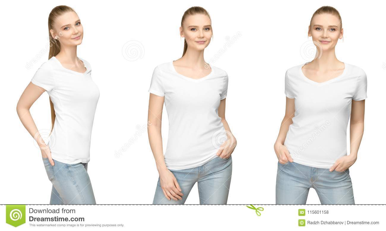 65b1ed7c Set promo pose girl in blank white tshirt mockup design for print and concept  template young woman in T-shirt front and half turn side view isolated  white ...