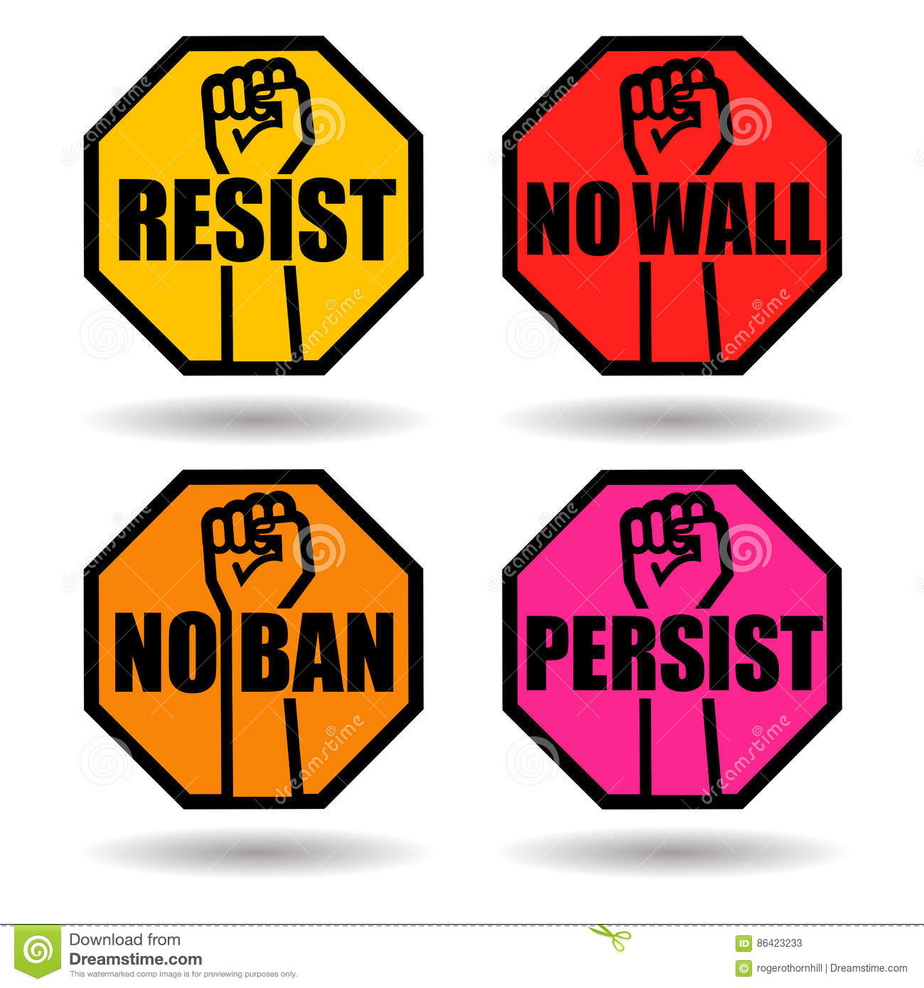 set of protest signs with raised fist stock vector illustration