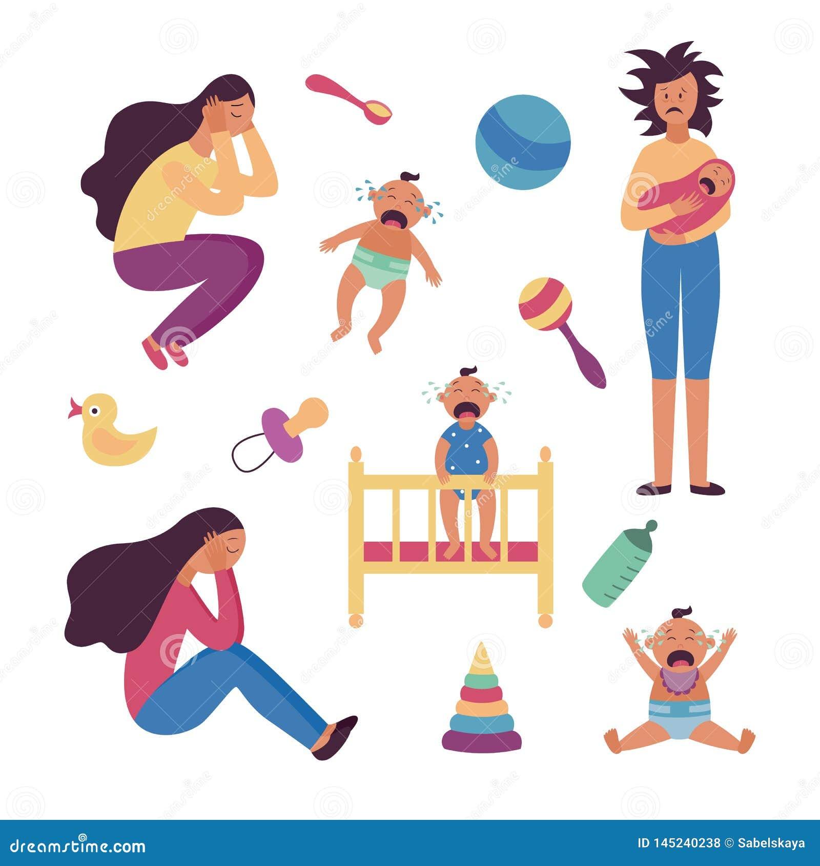 Set przygnębione zmęczone kobiety, płaczów dzieci i zabawki płaska kreskówka projektujemy