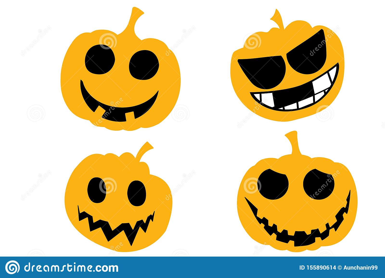 Set pumpkin on white background. Happy Halloween holiday.