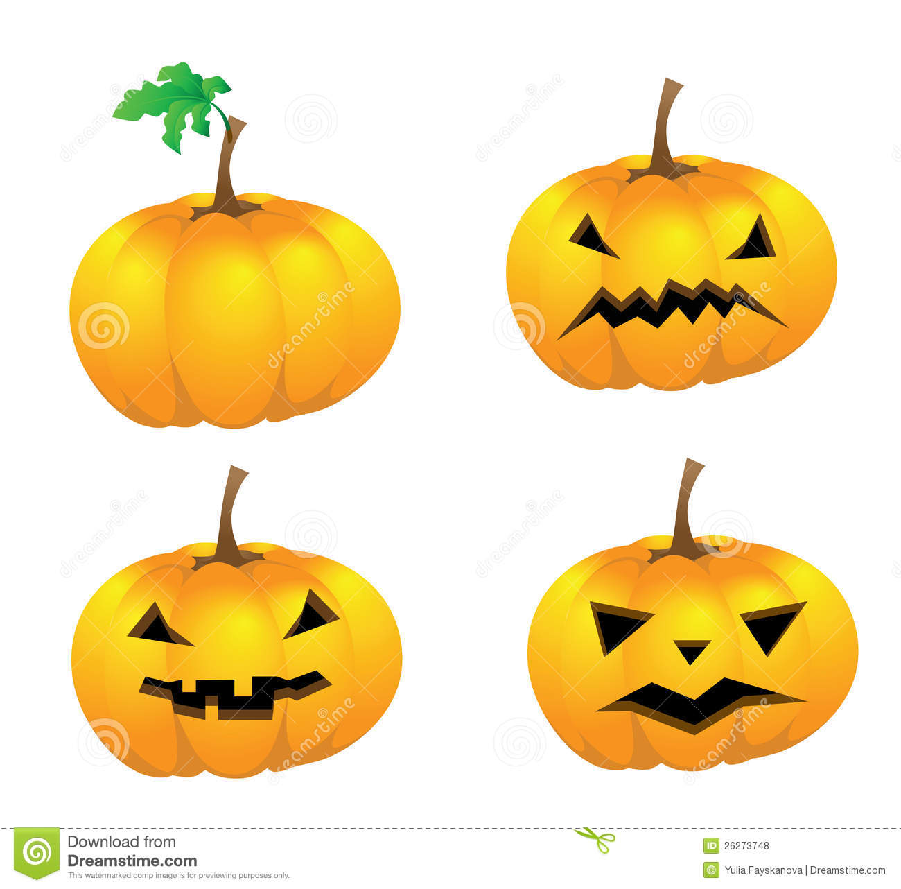 Set of pumpkins with faces for halloween isolated royalty for Surprised pumpkin face