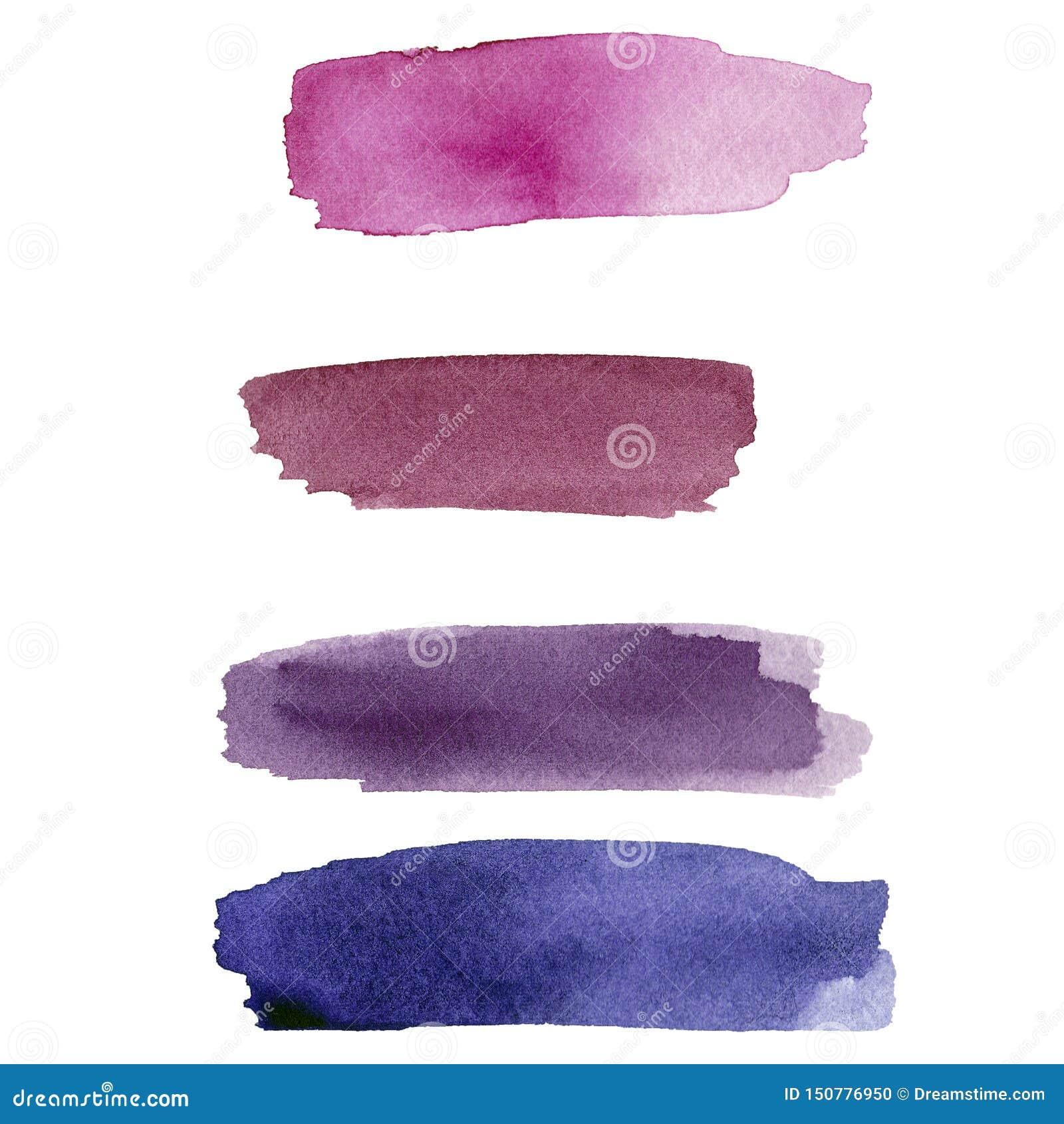 Set purpurowy akwarela kleks na białym tle Koloru che?botanie w papierze Ja jest ręka rysującym obrazkiem