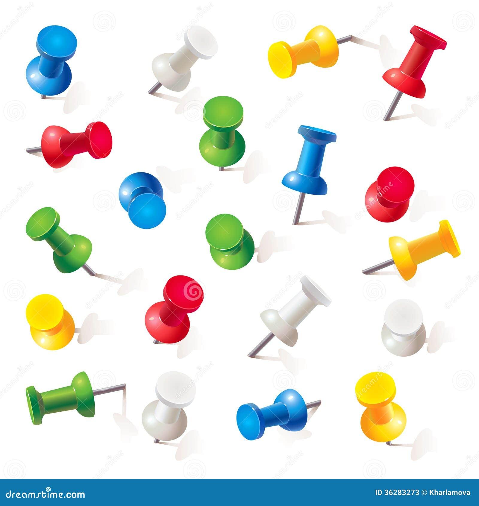 Set of coloured pins stock illustration. Illustration of
