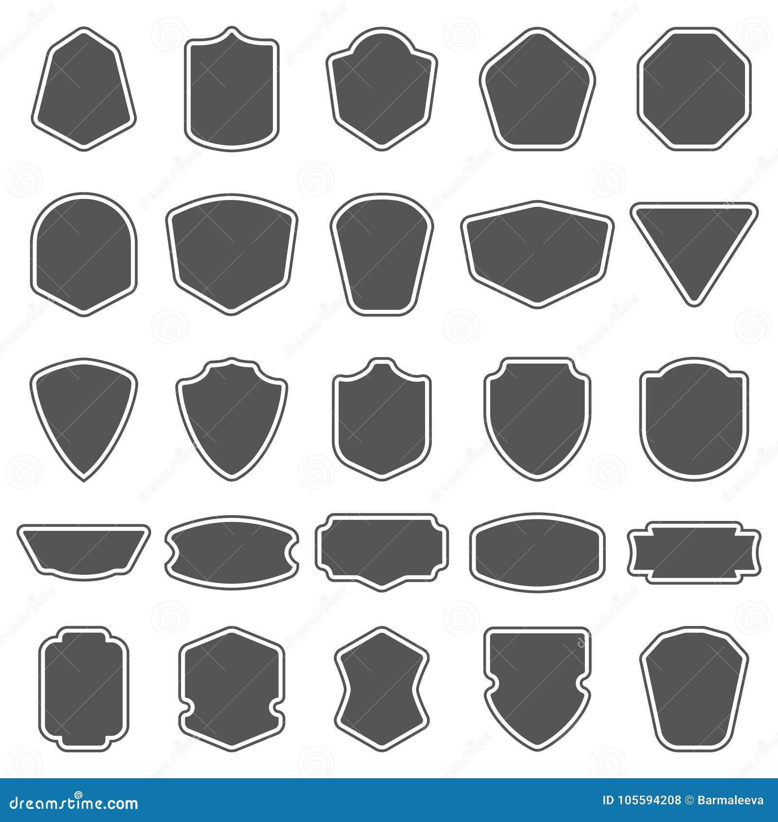 Set puste miejsce zmroku puste osłony Osłony odznaki kształty Rocznik ramy dla emblematów, etykietki, insygnia