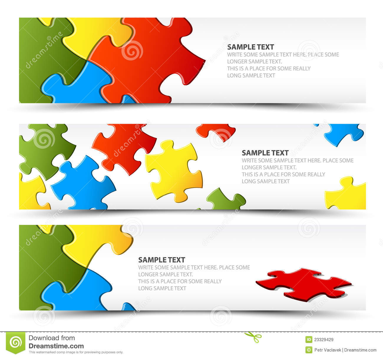 Set Of Puzzle Horizontal Banners Royalty Free Stock Images - Image ...