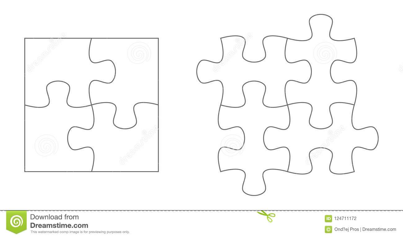 set of puzzle pieces jigsaw puzzle four vector flat blank. Black Bedroom Furniture Sets. Home Design Ideas