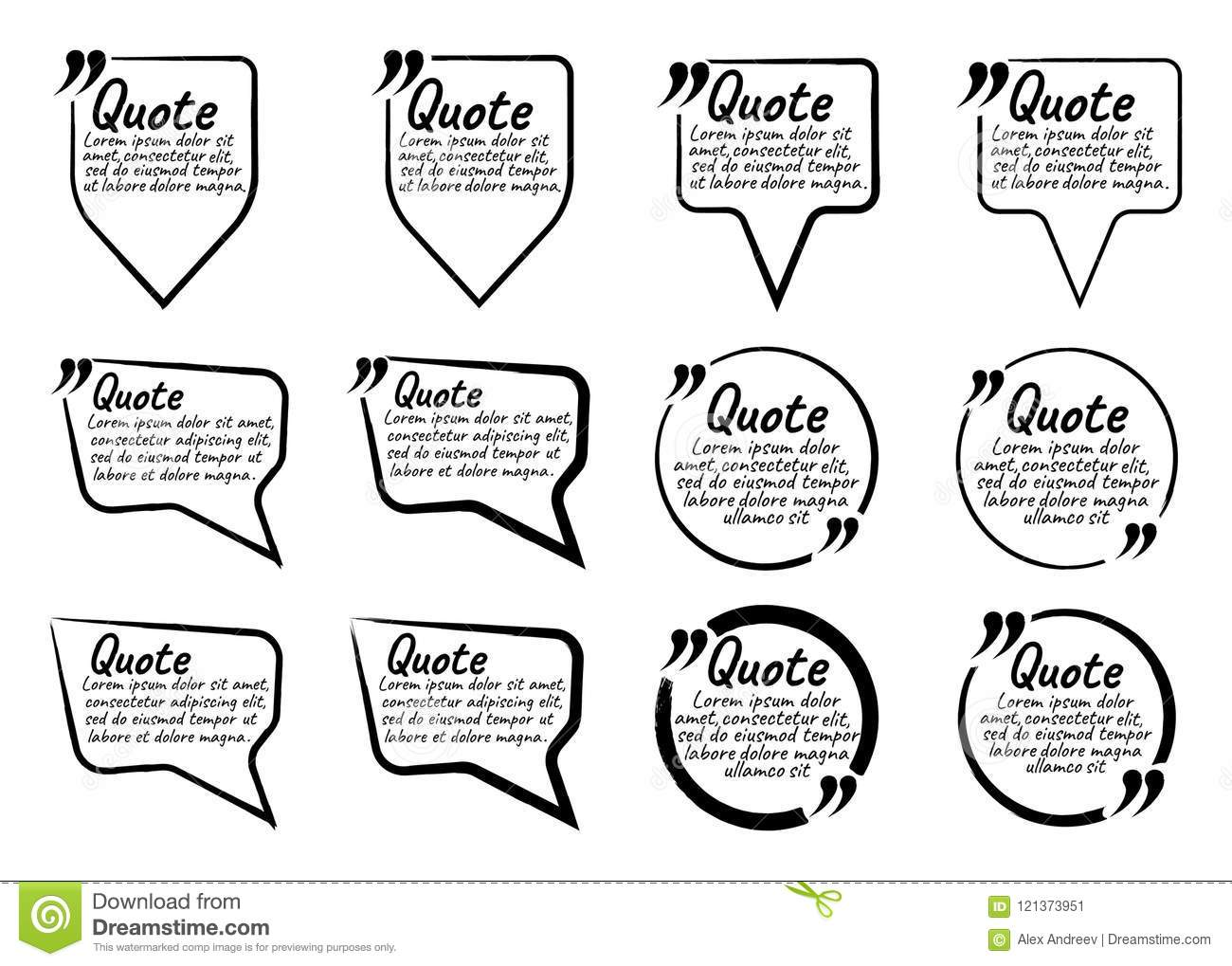 Set Of Quote Blank With Text Icon And Label. Template For Note,m ...