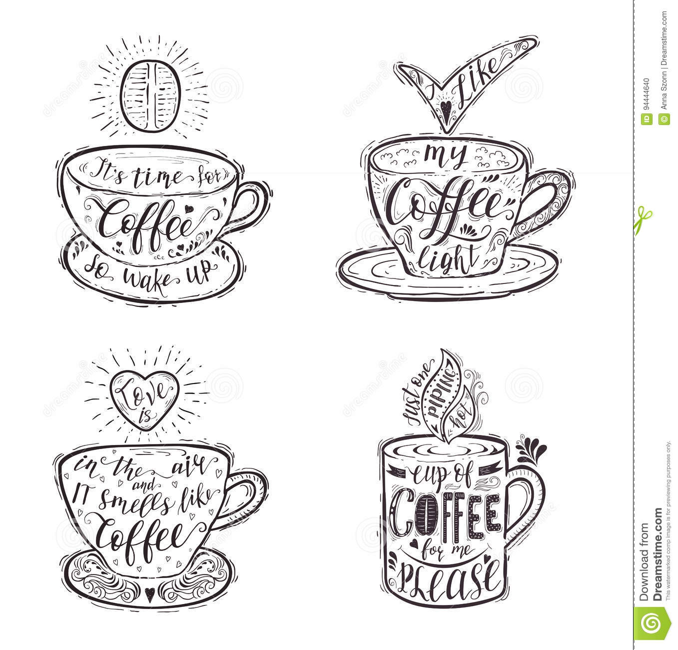 Set Of Quotes For Coffee On A Cup Stock Vector Illustration Of
