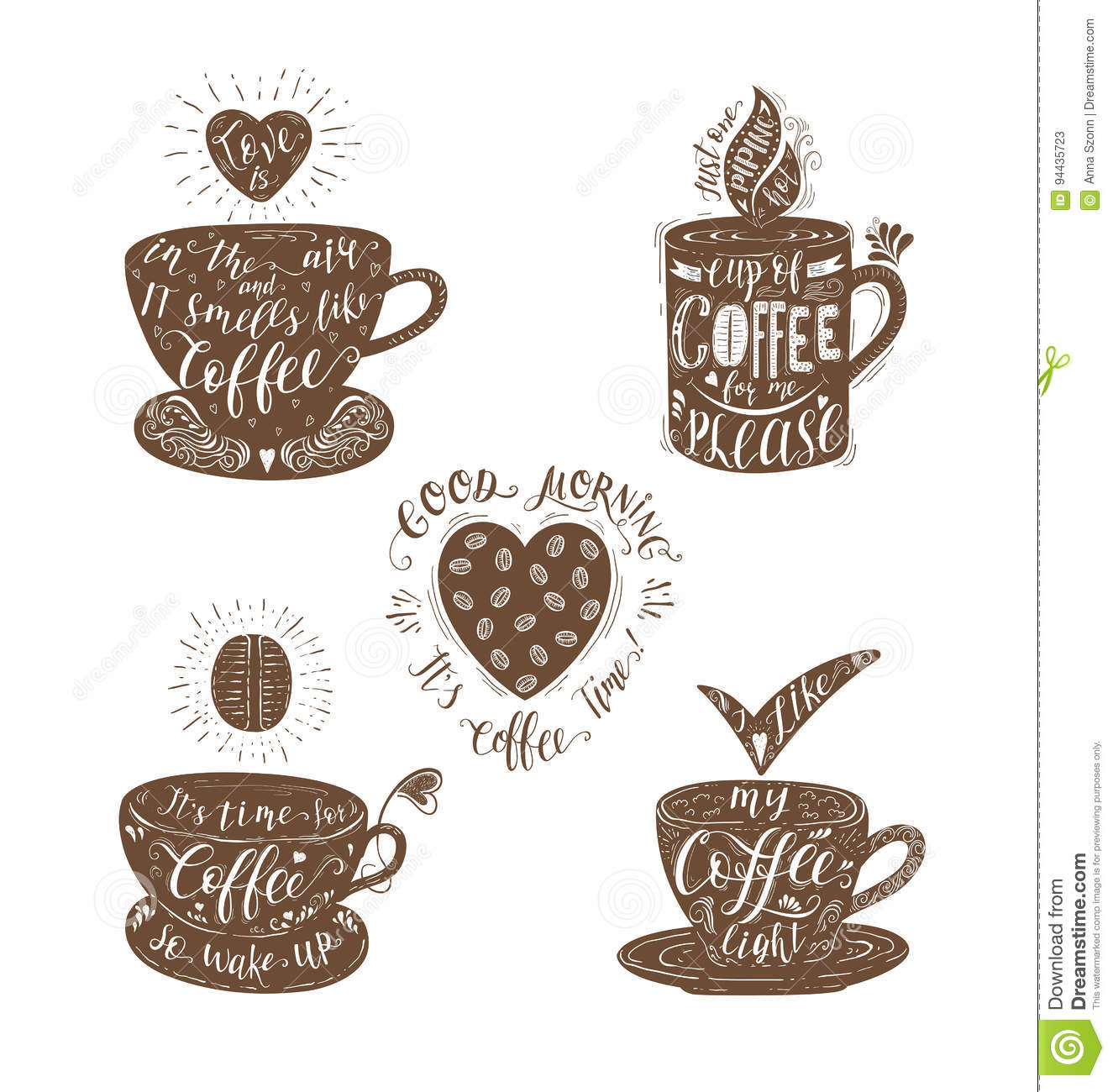 Set Of Quotes For Coffee Stock Vector Illustration Of Headline