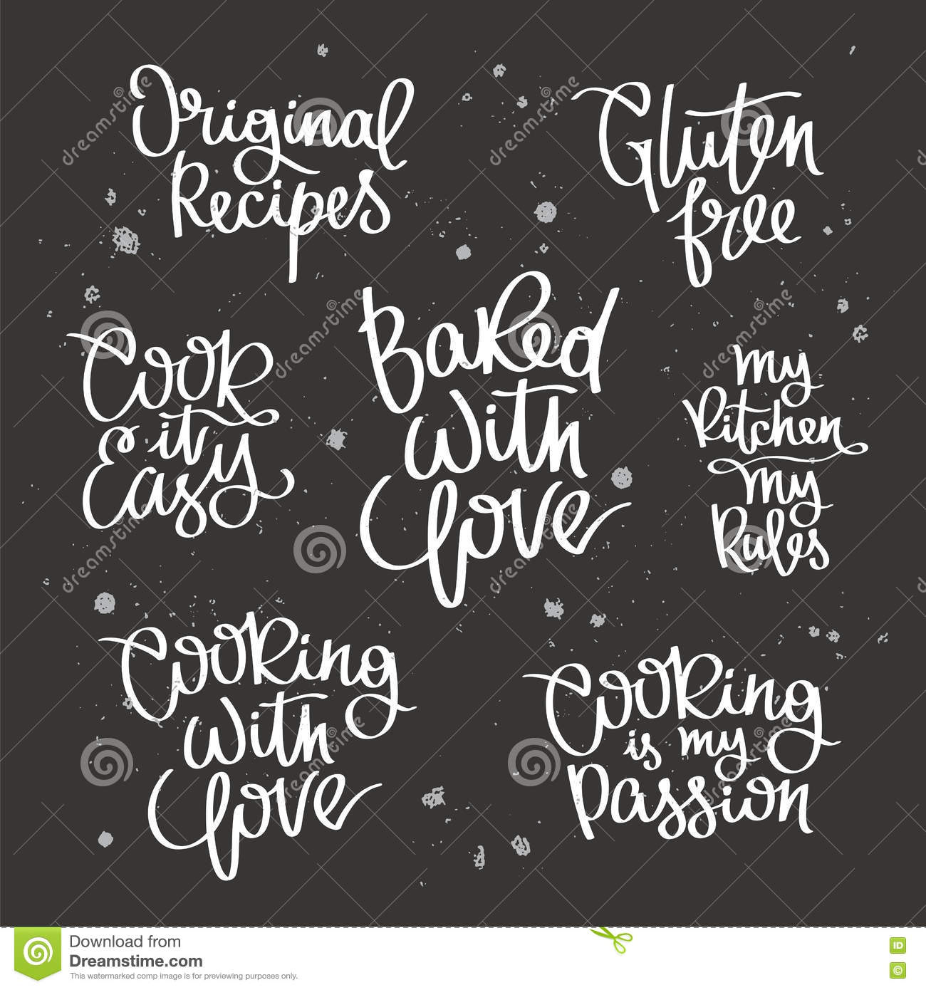 Set Quotes About Cooking Stock Vector Illustration Of Fancy 74288575