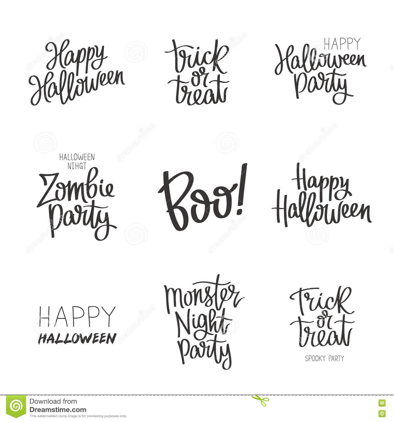 set quotes on halloween stock vector. illustration of bohemian
