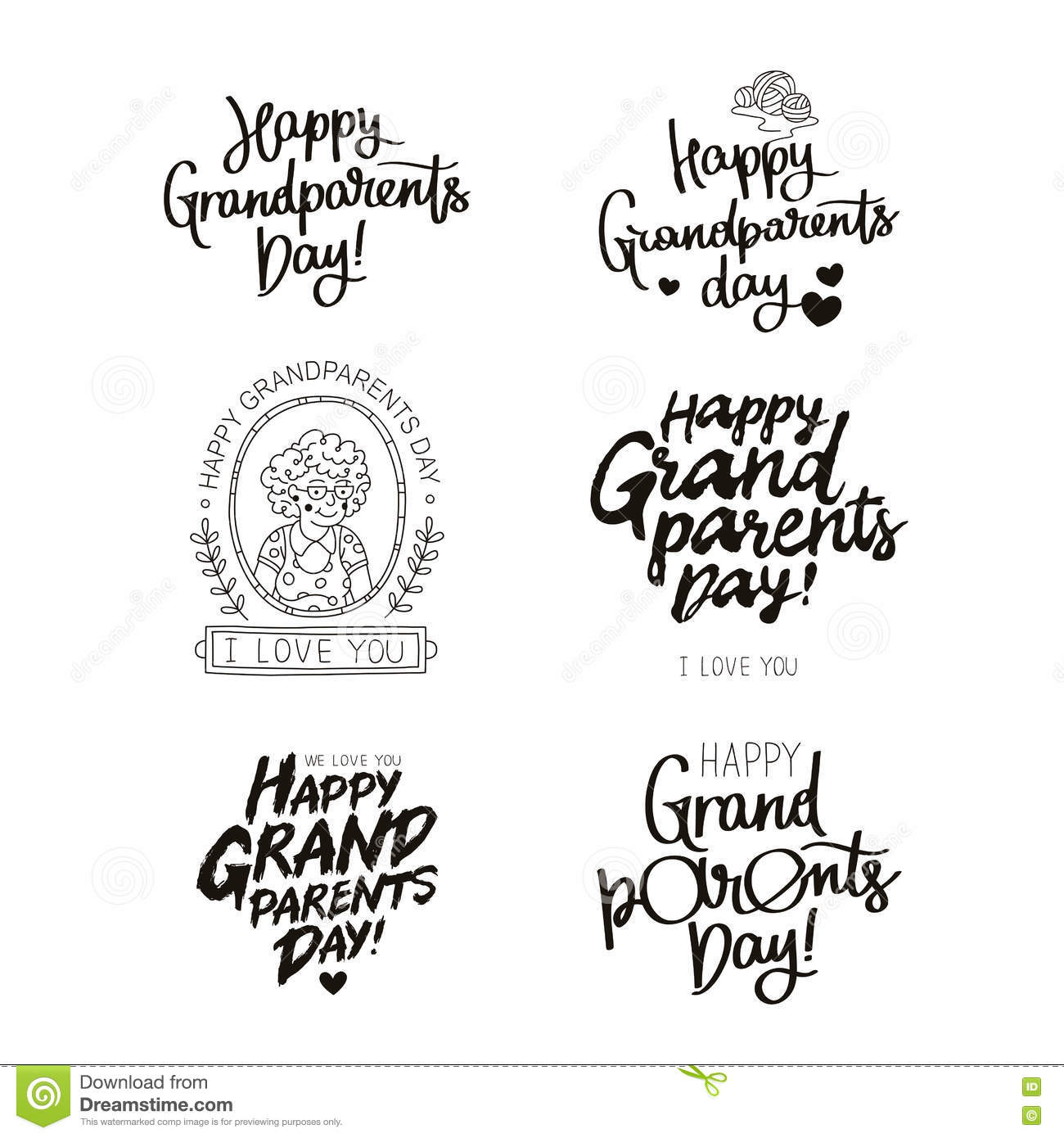 Set Quotes About Happy Grandparents Day! Stock Vector