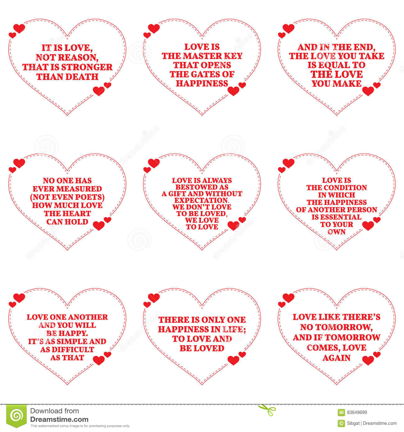 Simple Quotes About Love Set Of Quotes About Love Over White Backgroundstock Vector