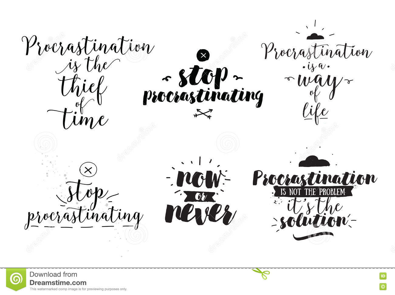 Set Of Quotes About Procrastination. Hand Drawn Design. Stock