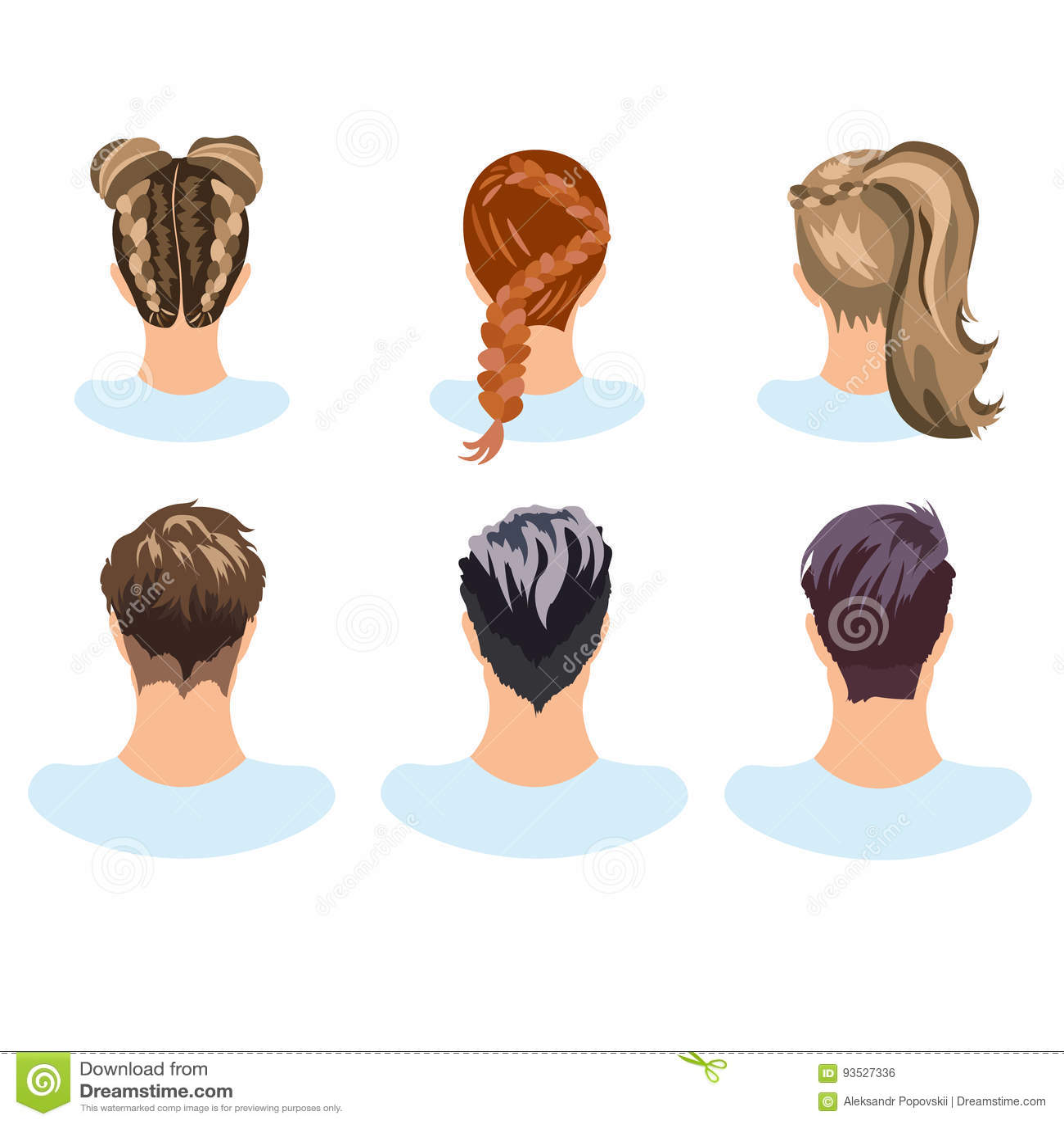 Set Różne Fryzury Kobieta I Mężczyzna Ilustracja Wektor