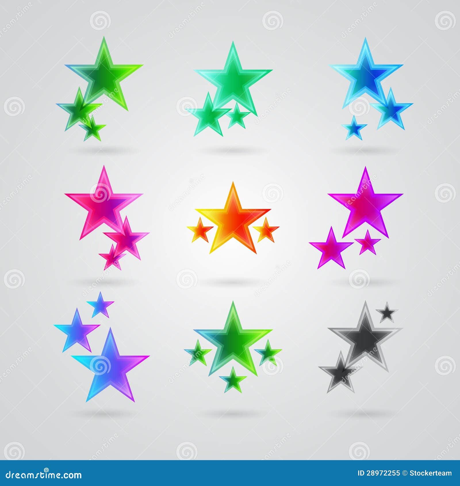 Set różne kolorowe gwiazdy