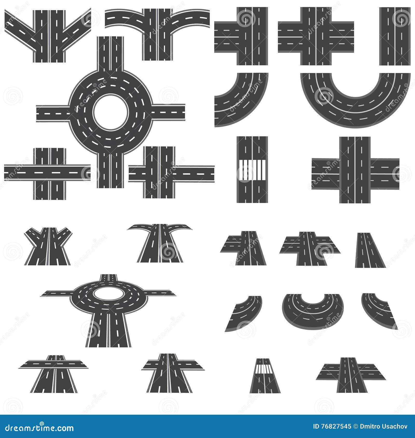 Set różne sekcje droga z rondami, złączami, chyłami i różnorodnymi skrzyżowaniami, Odgórny widok i