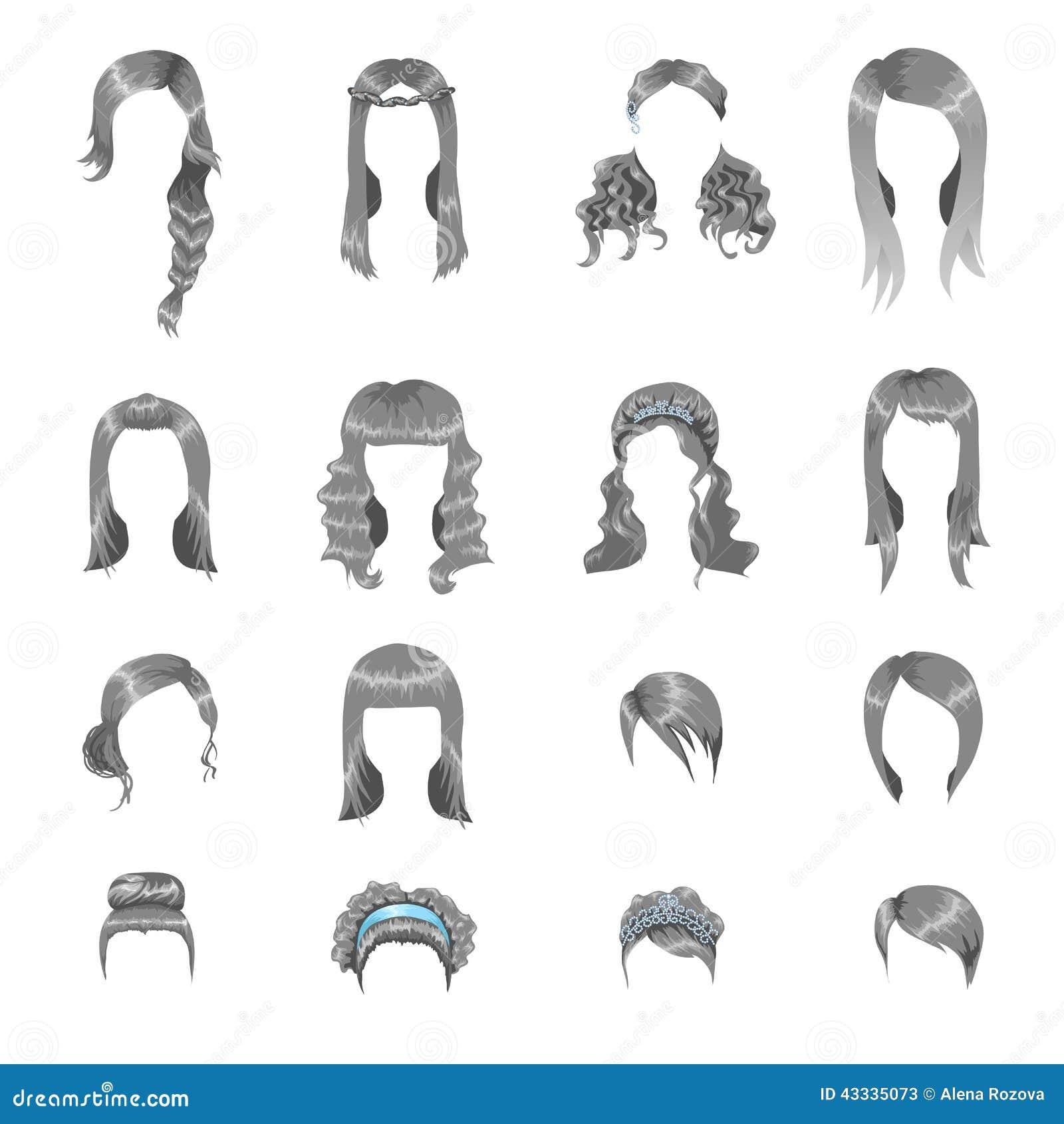 Set Różne Szare Fryzury Dla Kobiet Ilustracja Wektor